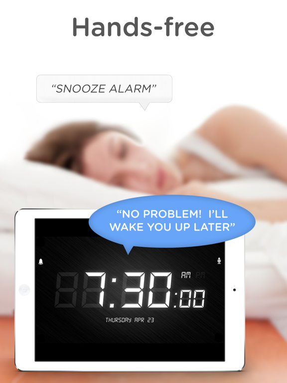 SpeakToSnooze - Alarm clock with voice control commands to snooze and turn off your alarm! screenshot