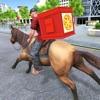 馬のピザ配達の少年アイコン