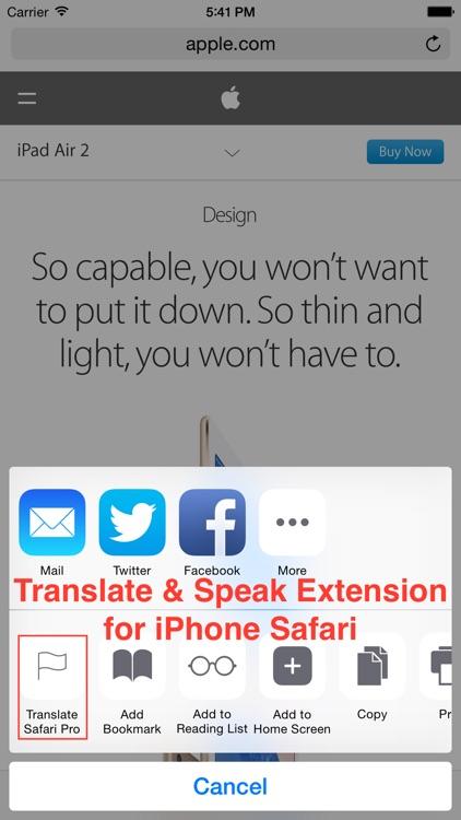Translate Pro for Safari screenshot-0