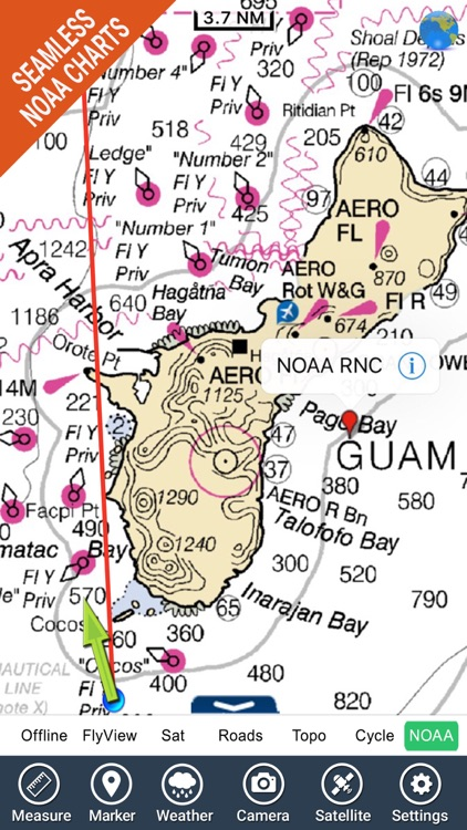 Marine : Guam island HD - GPS Map Navigator screenshot-2