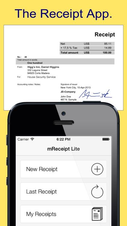 mReceipt Lite - The Receipt App