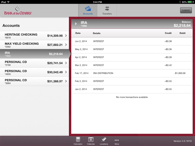 Bank of the Ozarks Mobile for iPad