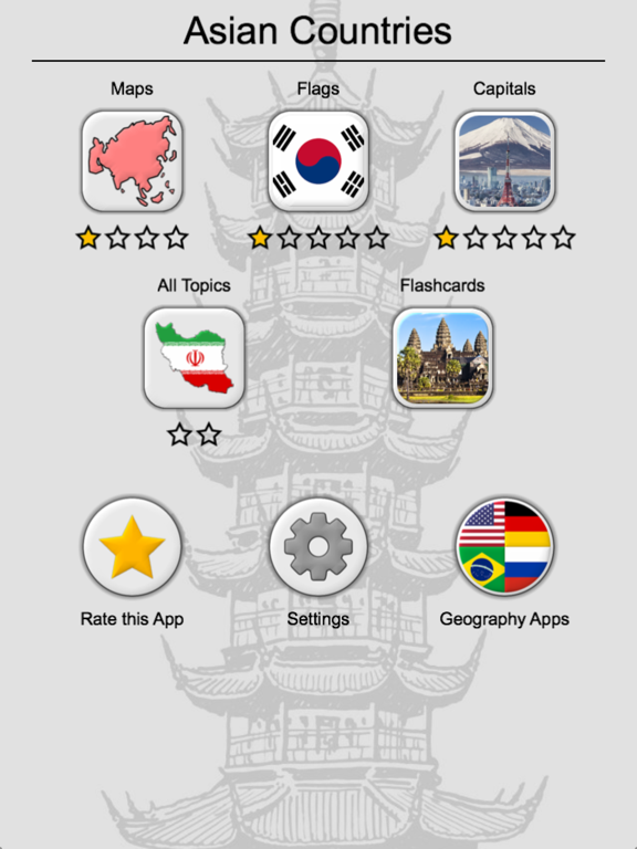 Asian Countries & Middle East - Flags and Capitals Screenshots