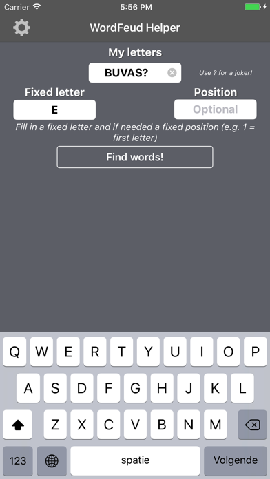 WordFeud Helper - find words for your letters! screenshot one