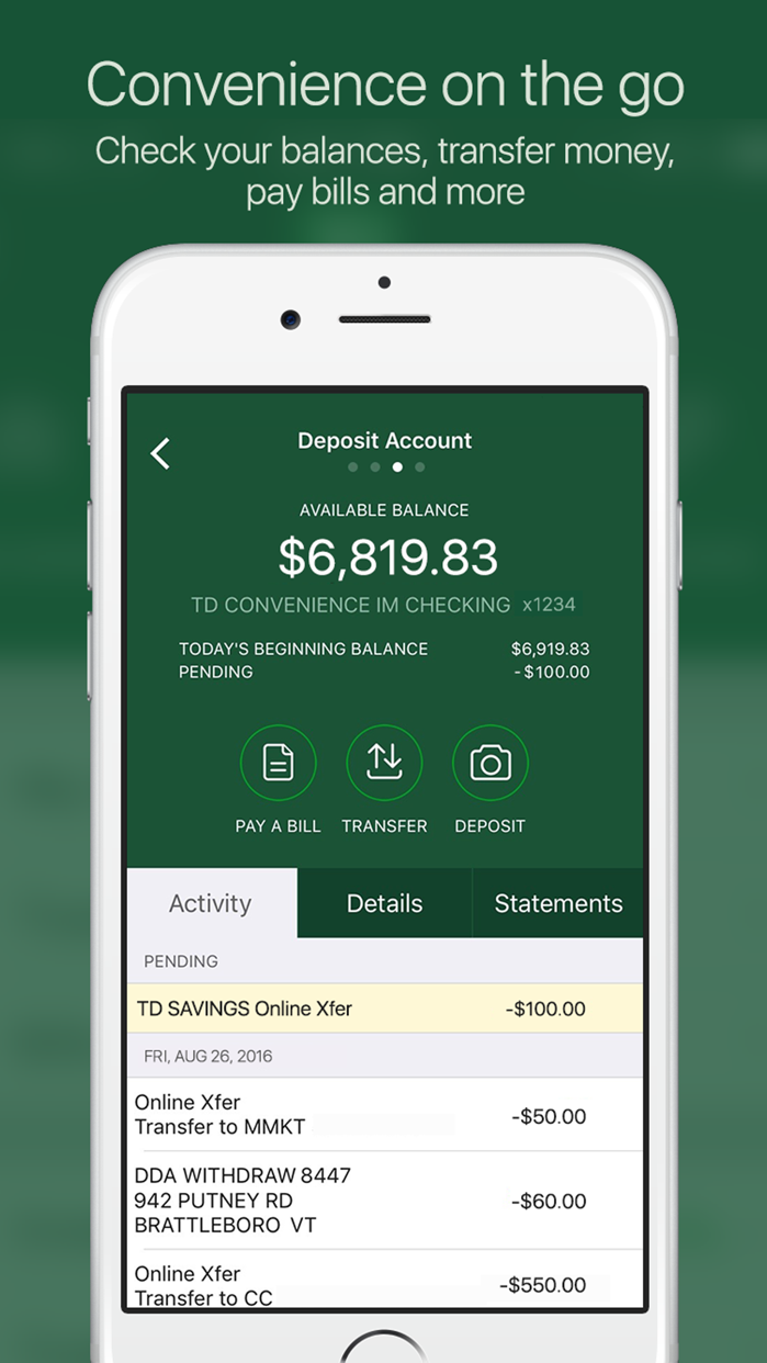 TD Bank (US) Screenshot