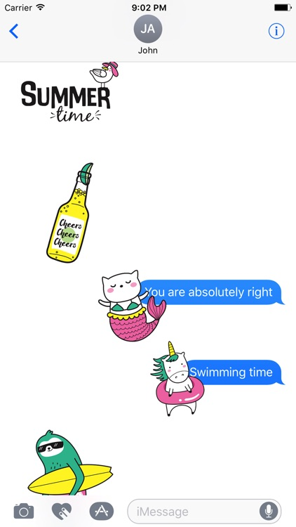 Adorable Summer Party Cat & Unicorn Stickers screenshot-4
