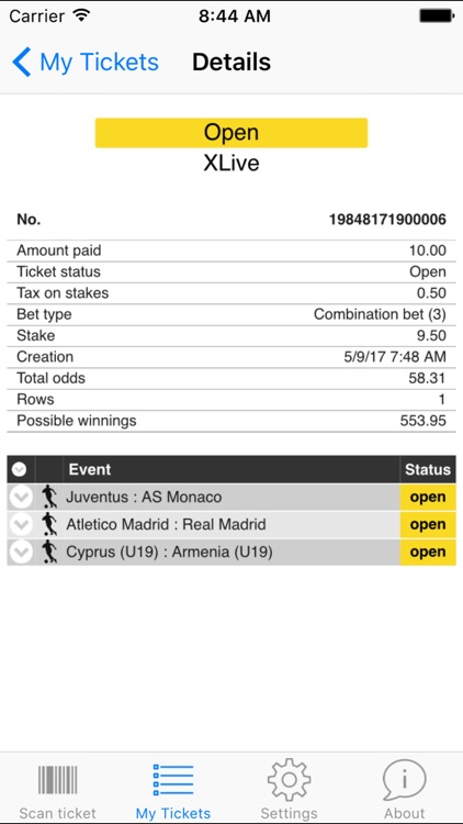 myTicket - mobile ticket checker by CBCX - computer betting