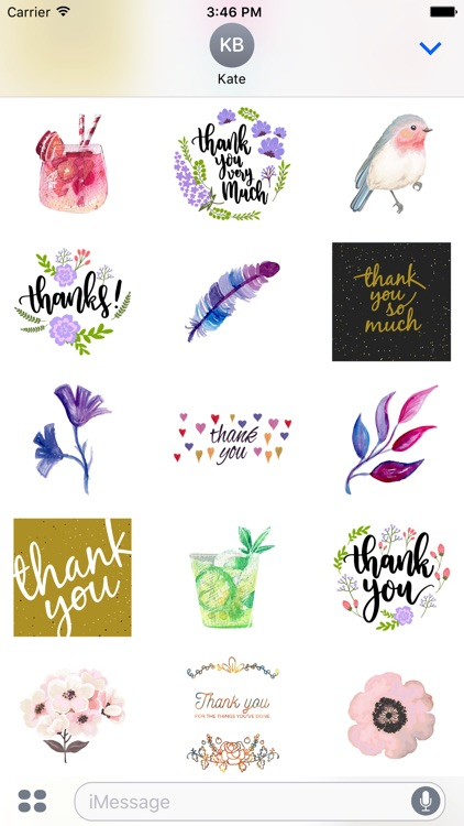Thank You From the Heart Flowers & Drinks Stickers