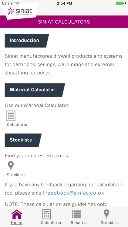 Siniat Materials Calculator