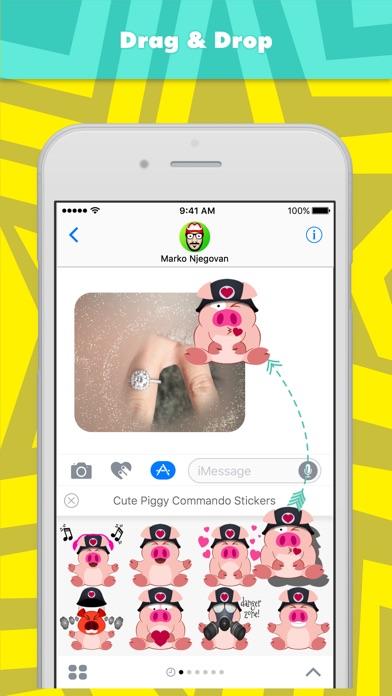 Niedliche Piggy Kommando Aufkleber-StickerScreenshot von 3
