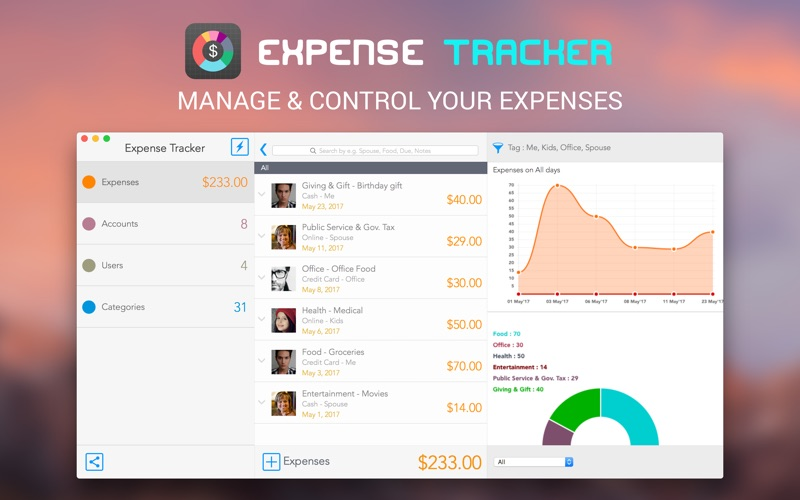 Expense Tracking System Features