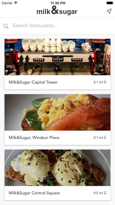 Milk&Sugar Cafes screenshot one