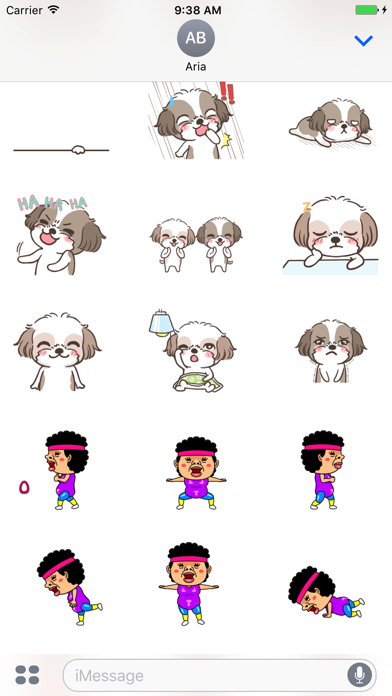 Animated Two Cute Dogs and Dancing Mom Sticker screenshot 2