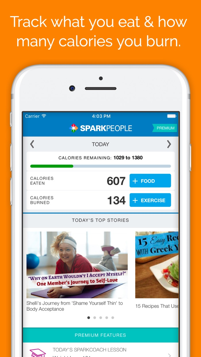 SparkPeople Calorie Tracker Screenshot