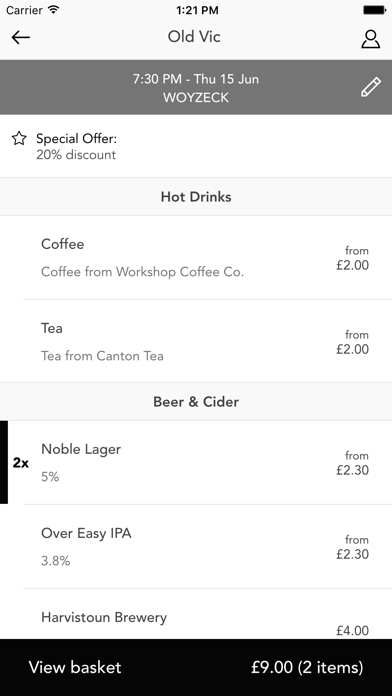 The Old Vic Drinks App screenshot four
