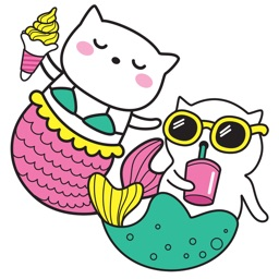 Adorable Summer Party Cat & Unicorn Stickers