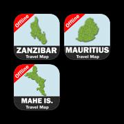 ZANZIBAR, MAURITIUS, MAHE ISLAND (Seychelles) Travel Map Bundle