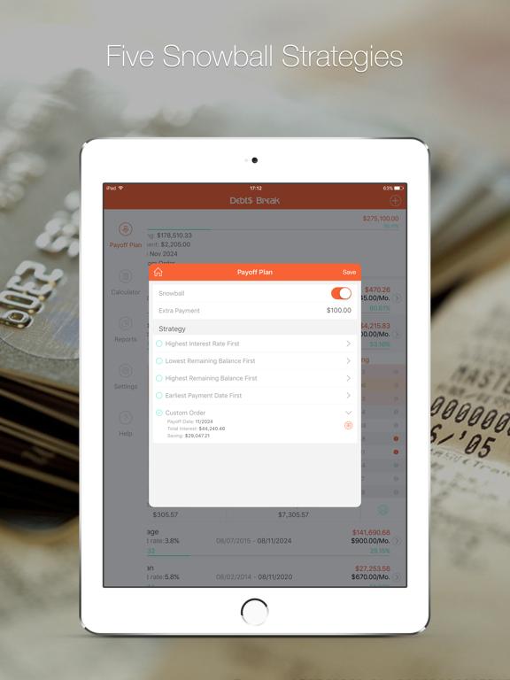 Debts Break - Snowball method debts free, Debt payoff plan and Debt manager screenshot