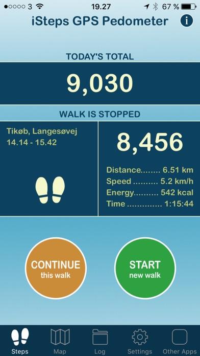 iSteps GPS Pedometer PRO screenshot one