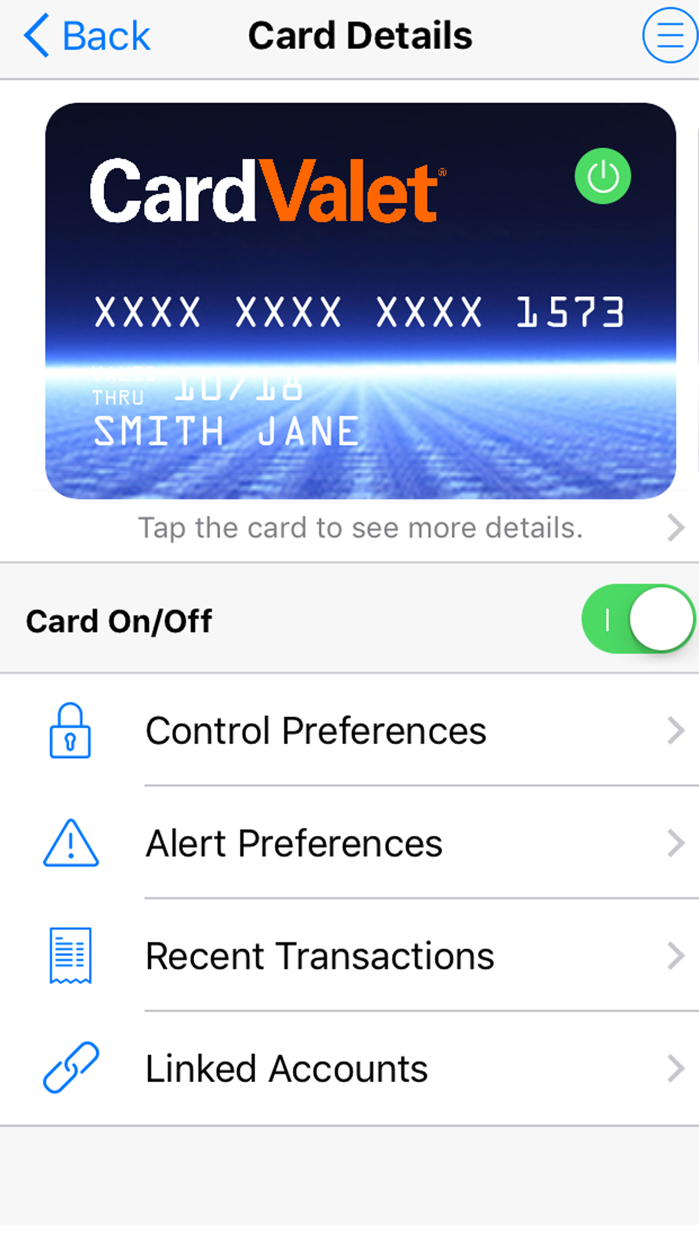 CardValet® Screenshot