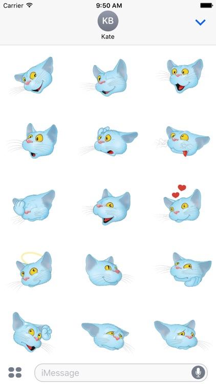 Blue Cat emoji screenshot-4