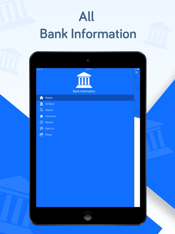 iPad Image of All Bank Information