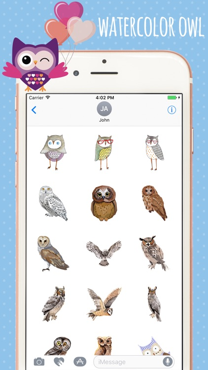 Watercolor Owl Stickers Pack screenshot-3