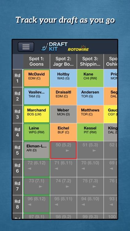 RotoWire Hockey Draft Kit 2017 screenshot-3
