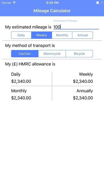 HMRC Mileage Calculator