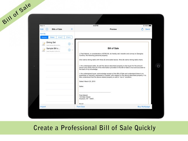 pocket bill of sale pro on the app store