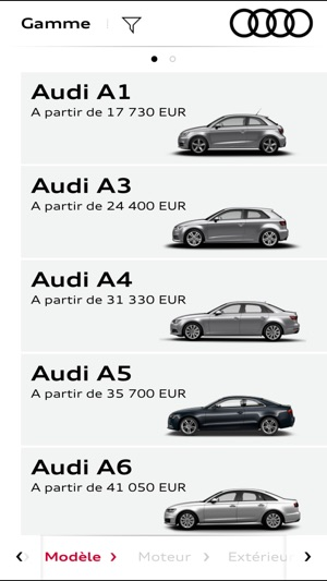 audi configurateur dans l app store. Black Bedroom Furniture Sets. Home Design Ideas