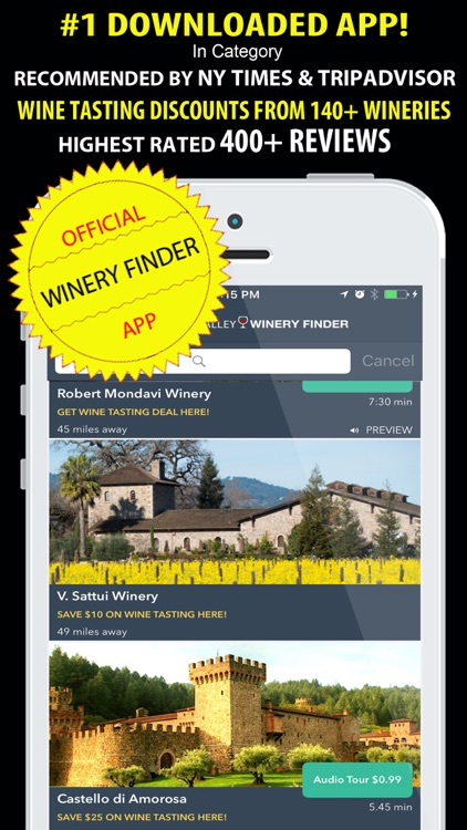 Napa Valley Winery Finder REAL screenshot-0