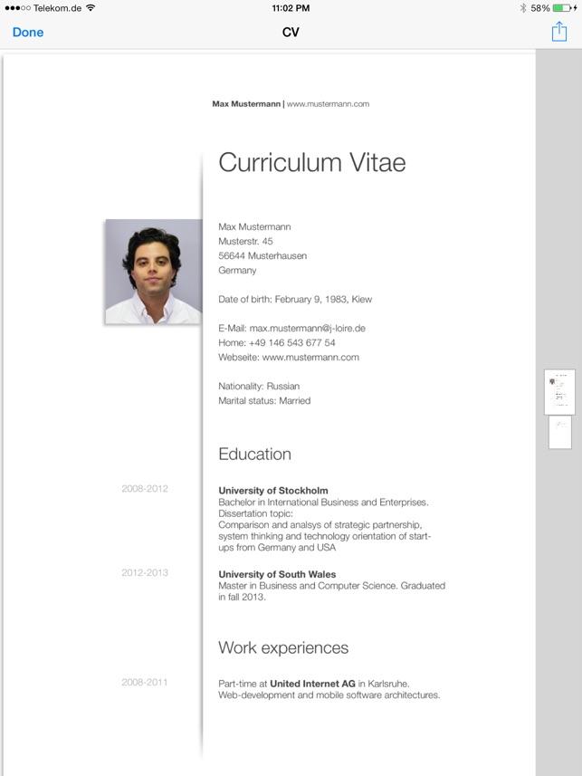 Cv Designer Hd Im App Store
