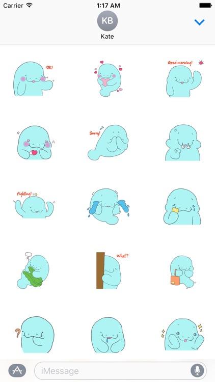 Shy Manatee Emoji Sticker