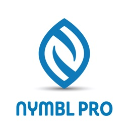 "A blue leaf-shaped logo with the phrase ""Nymbl Pro"" in blue underneath"