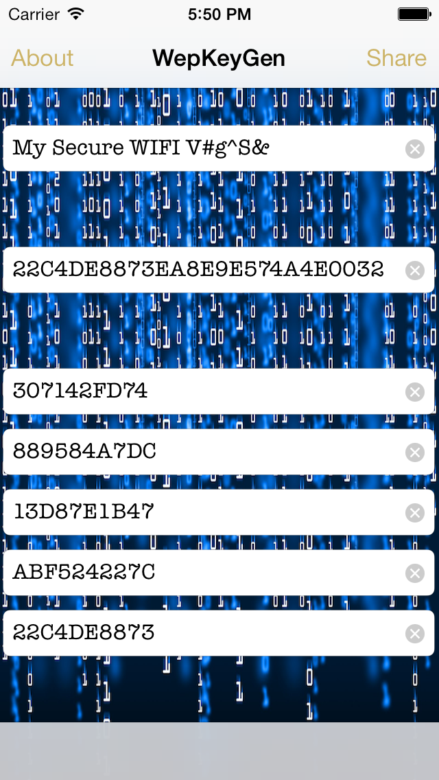 Screenshot of WEP keys for WiFi Passwords3