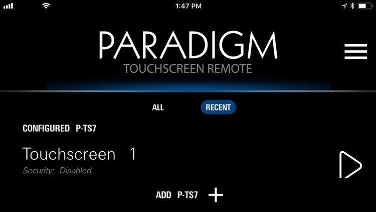Paradigm Touchscreen Remote
