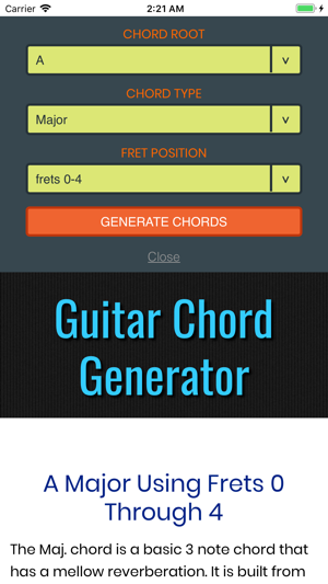 Guitar Chord Generator (GC) on the App Store