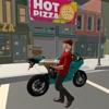 城市比萨饼送货自行车骑士