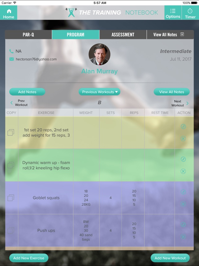 the training notebook on the app store