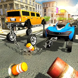 Elevated Chained Car Racing 3D