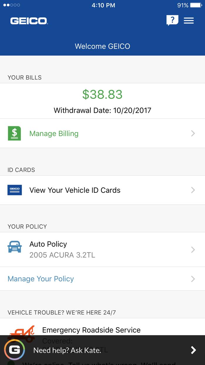 GEICO Mobile Screenshot