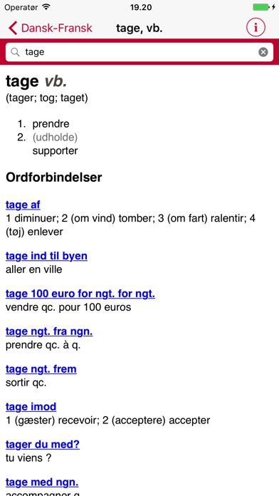 Screenshot for Gyldendal's French Danish Dictionary - Mini in Canada App Store