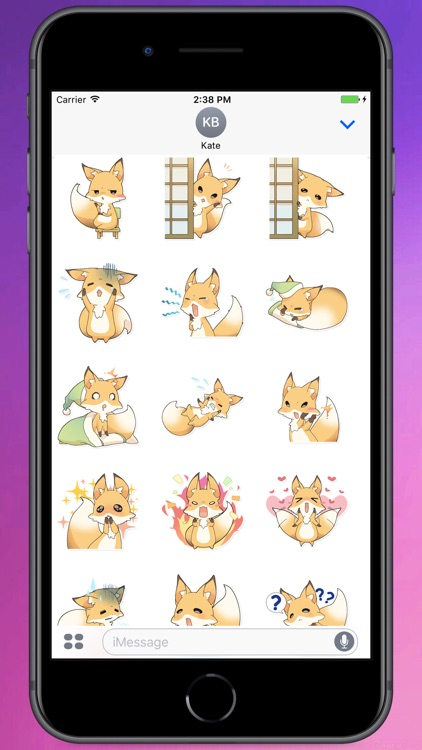 Cute Girly Fox Stickers