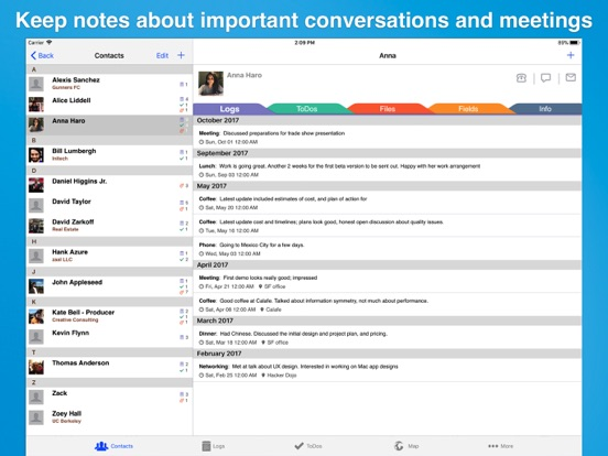 Screenshot #4 pour Contacts Journal CRM for iPad