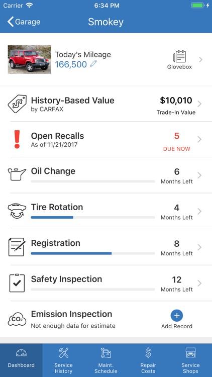 myCARFAX - Car Maintenance