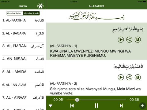 Quran in Swahili - náhled