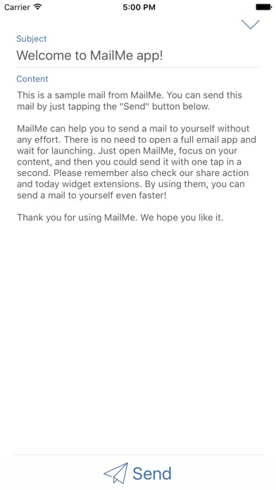 Mail Me - A mail to yourself Screenshot on iOS