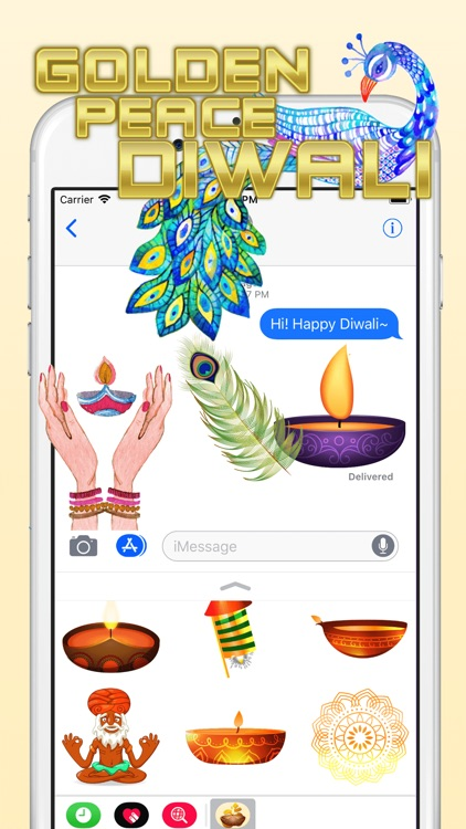 Golden Peace Diwali Sticker