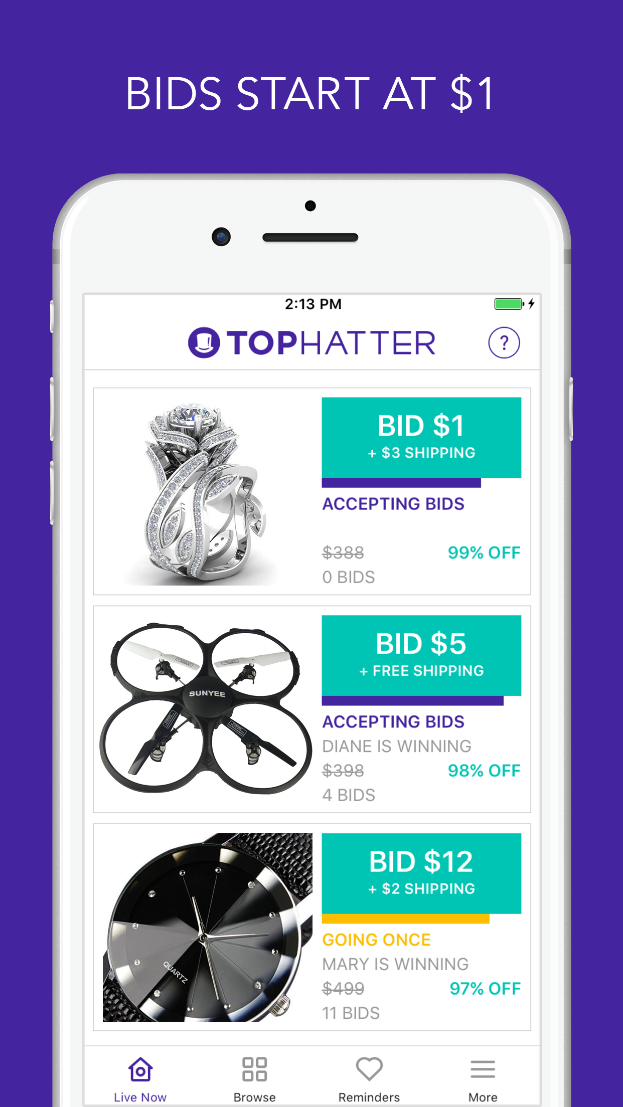 Tophatter - 90 Second Auctions Screenshot